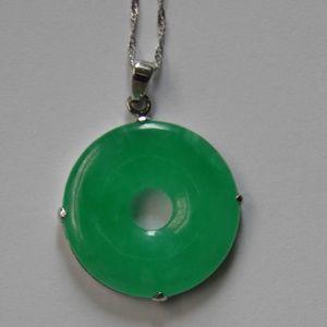 NWOT Genuine Green Jade & Sterling Silver Necklace